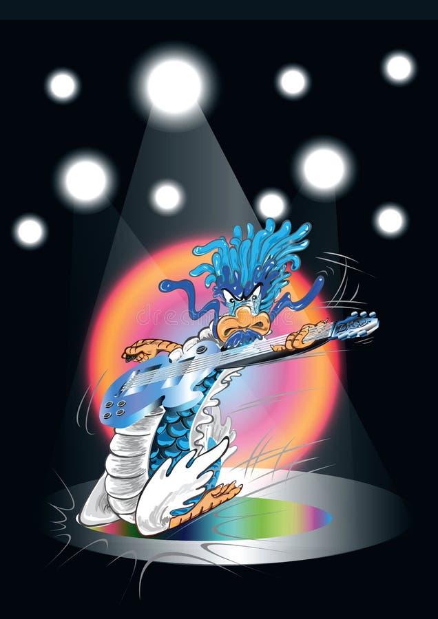 leka för gitarr för tecknad filmkonsertdrake vektor illustrationer