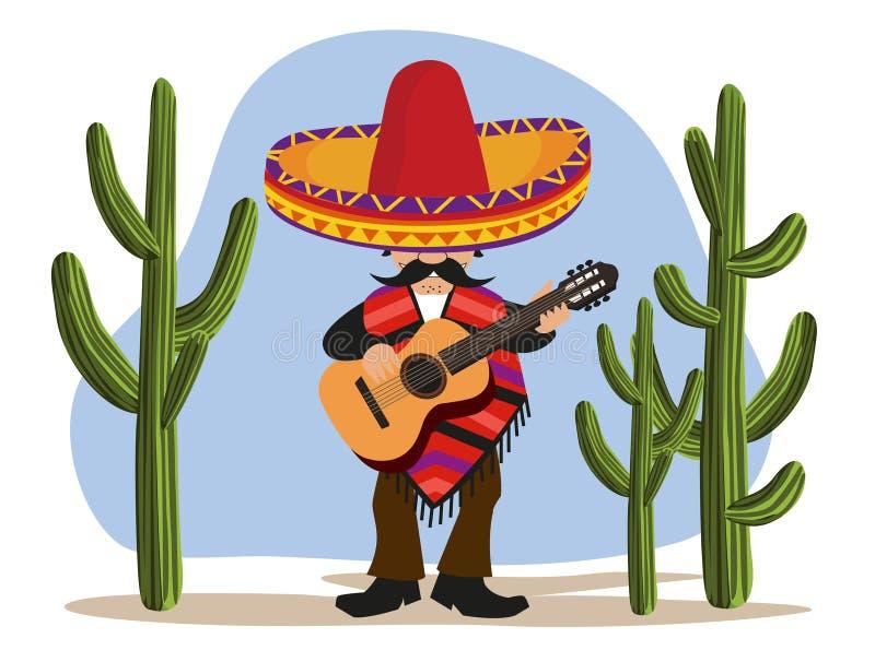 leka för gitarrmexikan royaltyfri illustrationer
