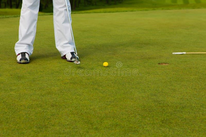 leka för golf Golfklubben och klumpa ihop sig Förbereda sig till skottet royaltyfria bilder