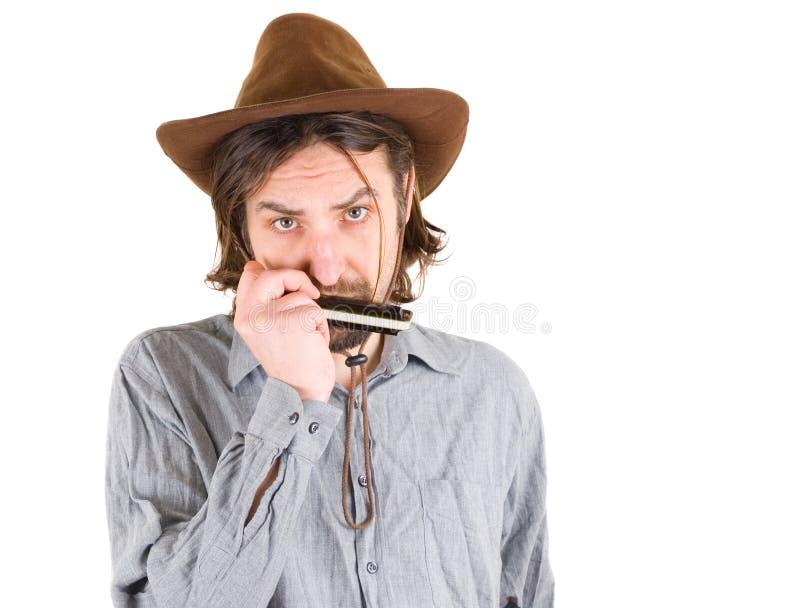 leka för harmonicaman fotografering för bildbyråer
