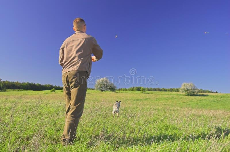 leka för hundman royaltyfri fotografi