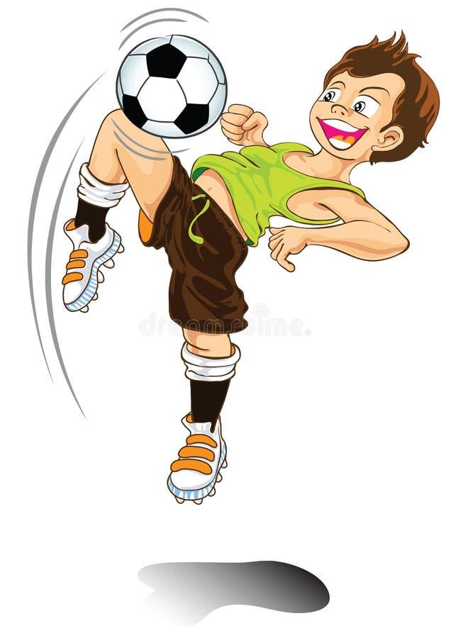 leka för pojketecknad filmfotboll royaltyfri illustrationer