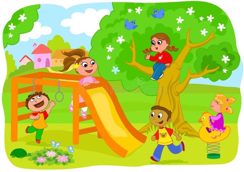 leka för ungar för bygd lyckligt royaltyfri illustrationer
