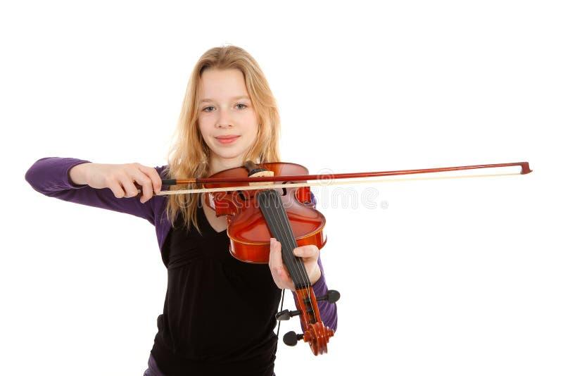 leka fiol för flicka royaltyfria foton