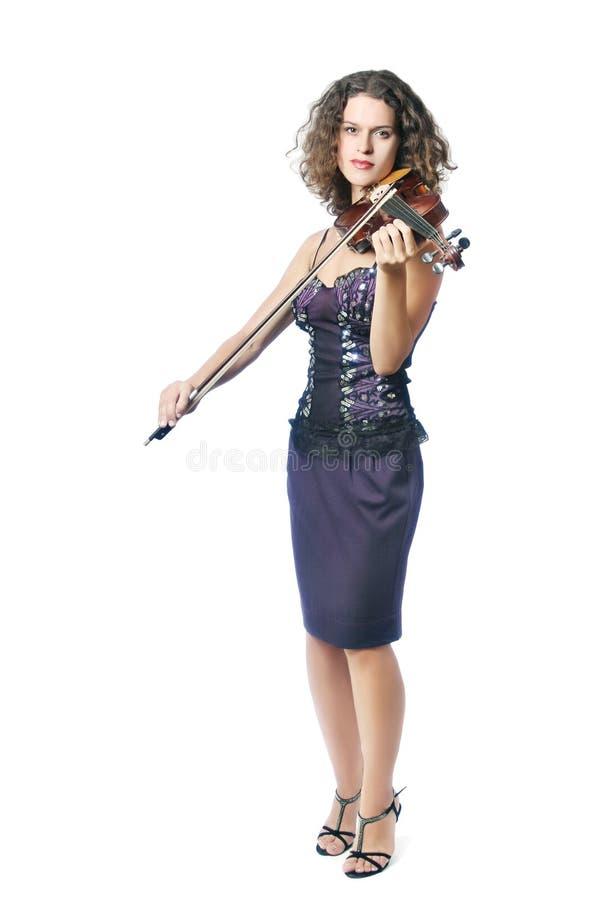leka fiolviolinistkvinna royaltyfri fotografi