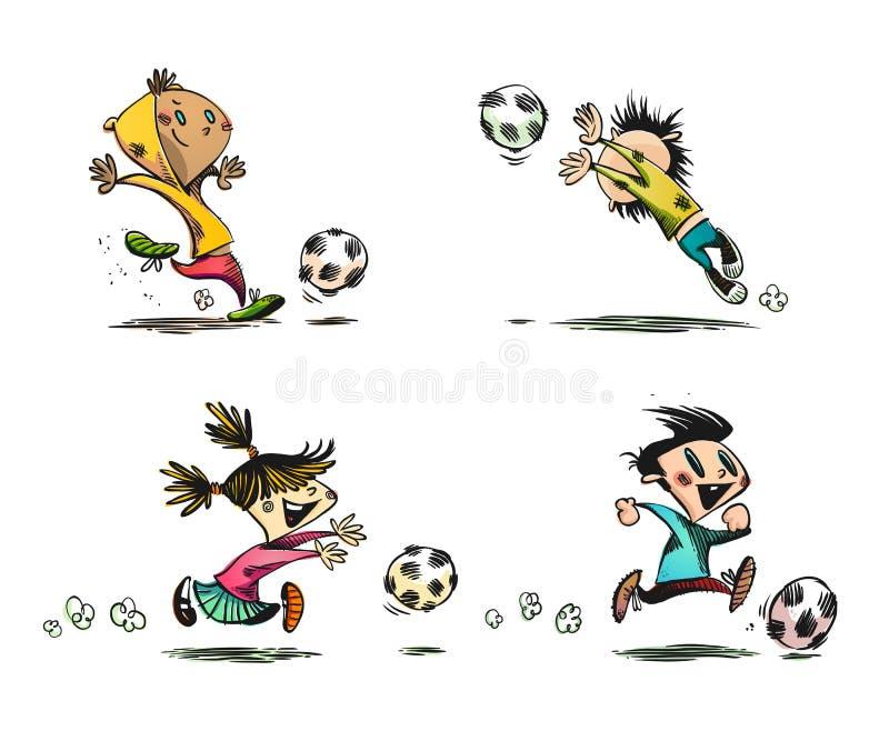 leka fotboll för barnfotboll vektor illustrationer