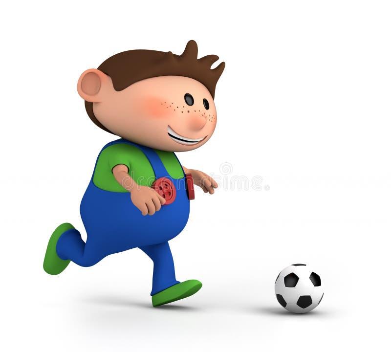 leka fotboll för pojke royaltyfri illustrationer