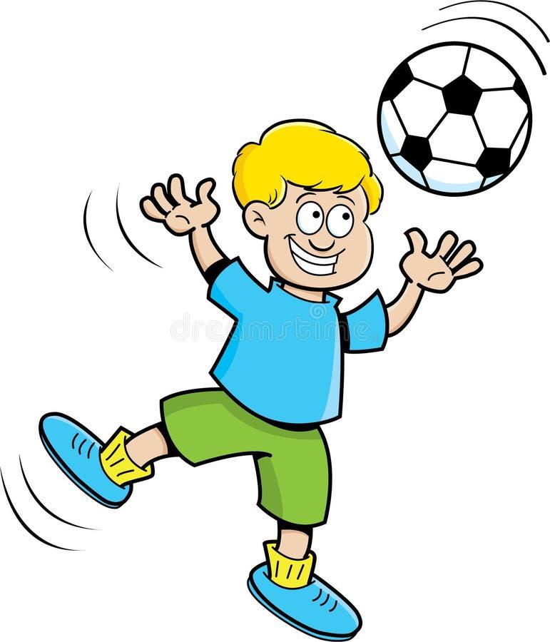 Leka fotboll för tecknad filmpojke vektor illustrationer