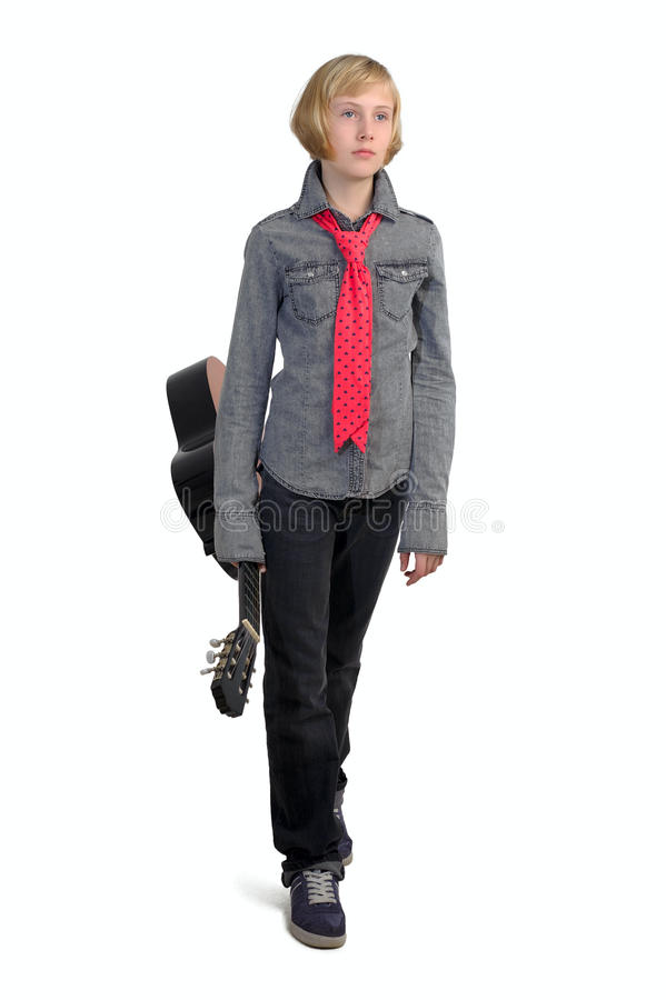 Leka gitarr för flicka royaltyfria foton