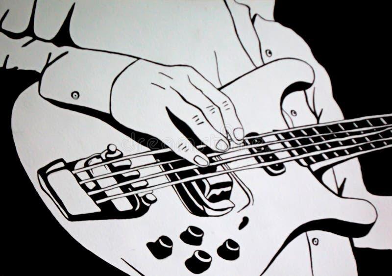 Leka gitarren Konstillustration stock illustrationer