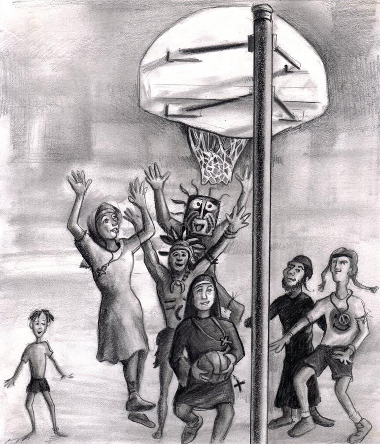 leka klosterbroder för basket royaltyfri illustrationer