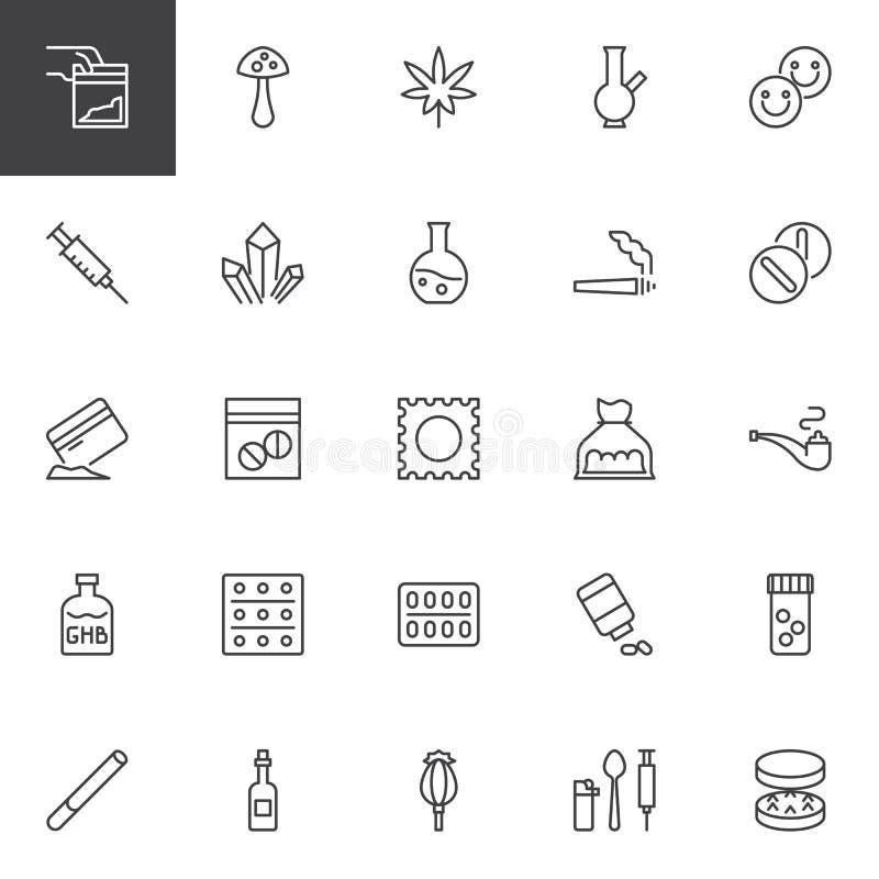 Leka konturu ikony Ustawiać royalty ilustracja