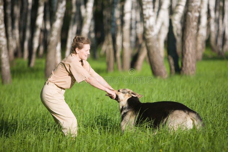 leka kvinna för hund royaltyfri foto