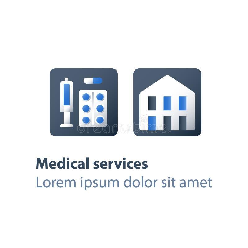 Leka nałogu centrum rehabilitacji, medycyna i opieka zdrowotna, lekarstwa pojęcie, stacjonarna terapia, program szczepień ilustracji