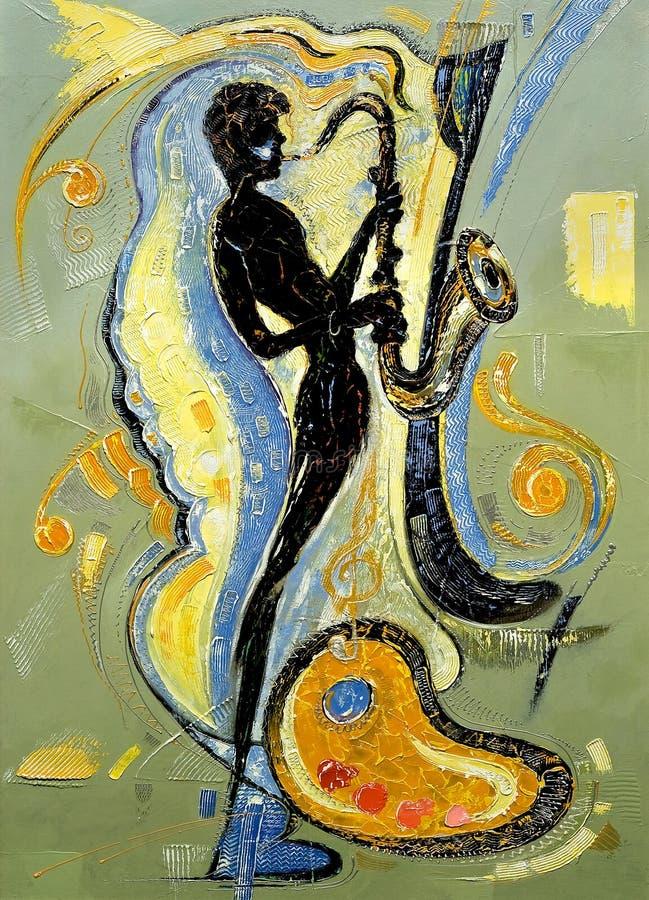 leka saxofon för musiker stock illustrationer