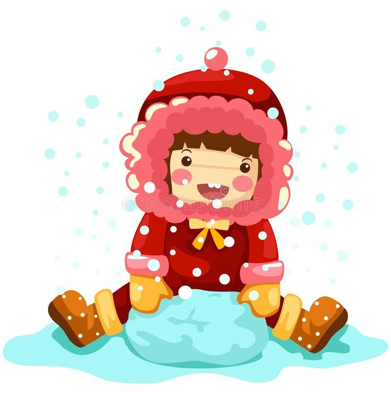 leka snow för flicka stock illustrationer