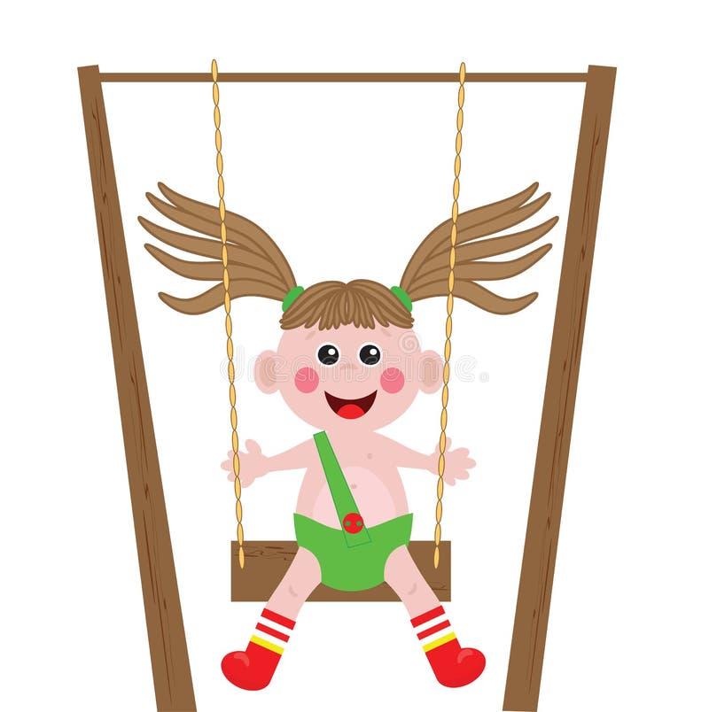 leka swing för flickaillustration royaltyfri illustrationer