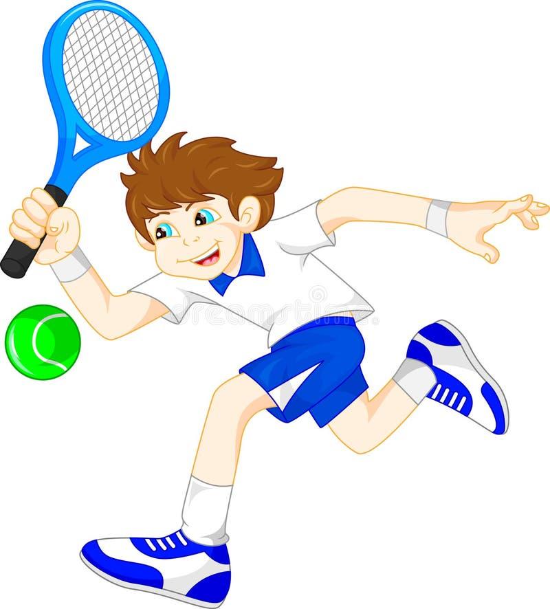 Leka tennis för tecknad filmpojke stock illustrationer