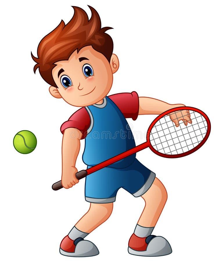Leka tennis för tecknad filmpojke royaltyfri illustrationer