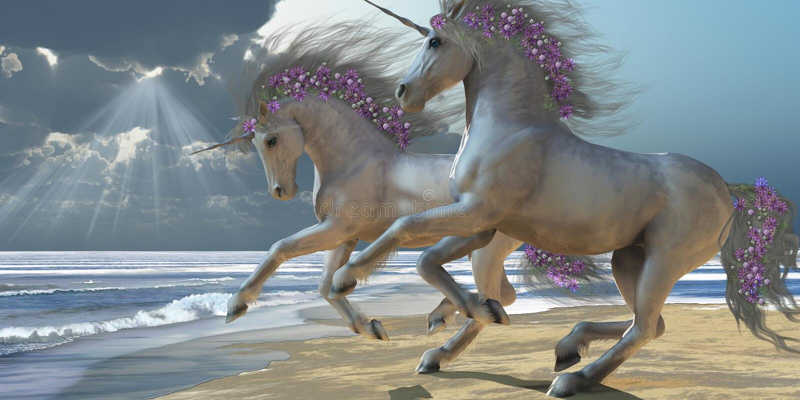 leka unicorns för 2 del stock illustrationer