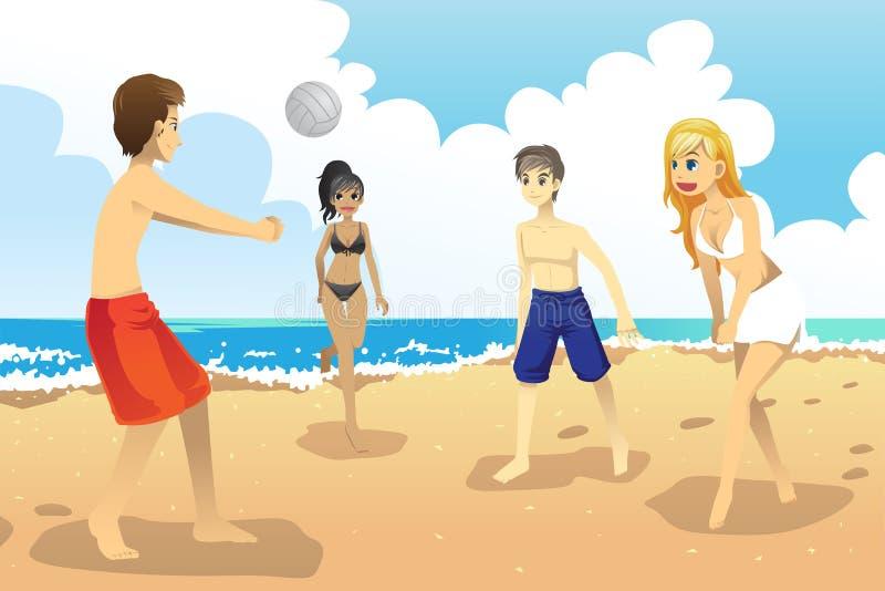 leka volleybollbarn för folk royaltyfri illustrationer
