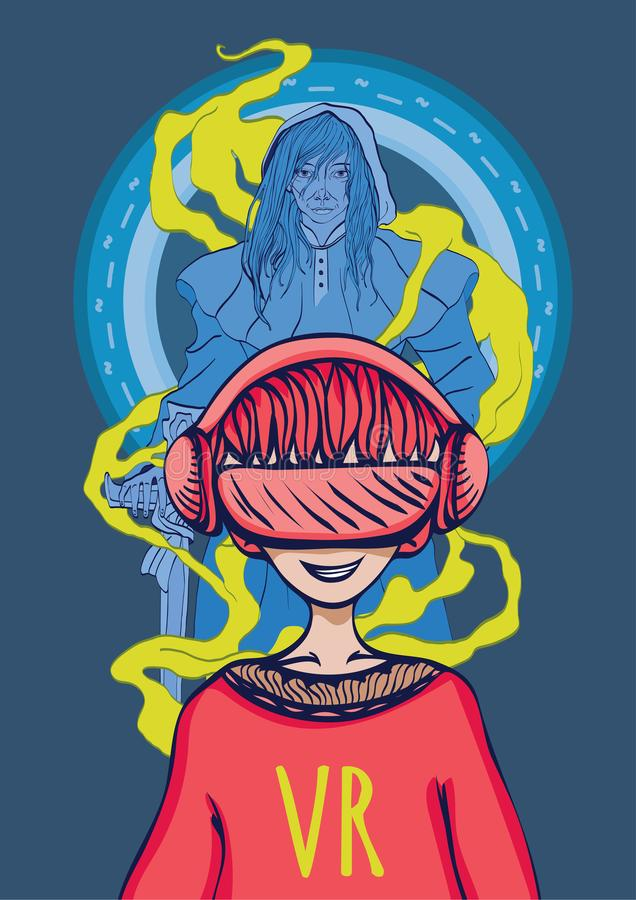 Lekar i virtuell verklighet Pojken i exponeringsglasen av virtuell verklighet och avataren för spelare` s är en krigare med ett s vektor illustrationer