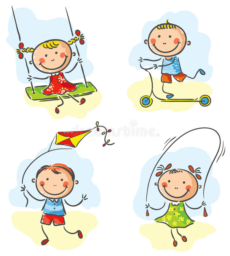 Lekar och aktiviteter för ungar utomhus- stock illustrationer