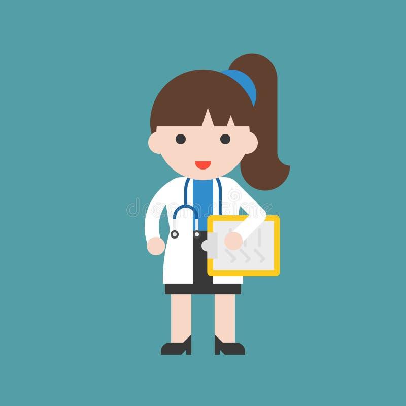 Lekarka, Śliczny charakteru szpital i opieka zdrowotna personel, płaski desig ilustracji