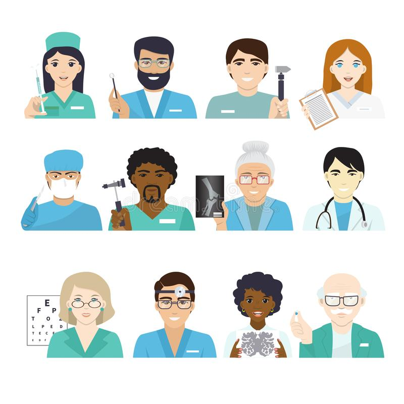 Lekarka charakteru wektorowy doktorski portret, fachowy medycznego pracownika lekarz lub student medycyny pielęgniarka w klinice ilustracja wektor