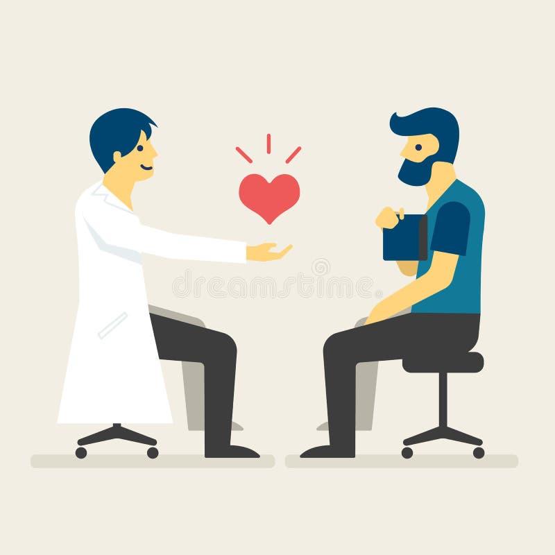 Lekarka daje pacjenta z nowym sercem, Medyczna pojęcie ilustracja royalty ilustracja