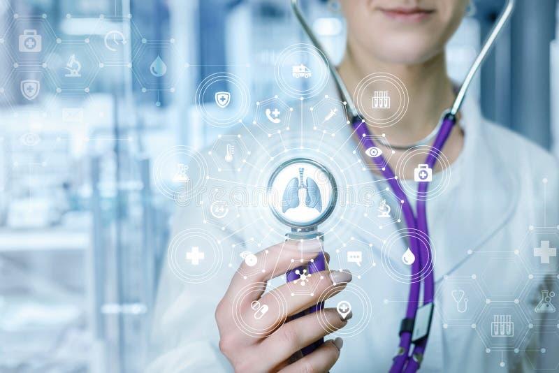 Lekarka dotyka dwuczłonowego system usługa zdrowotna z płucami modeluje wśrodku fotografia royalty free