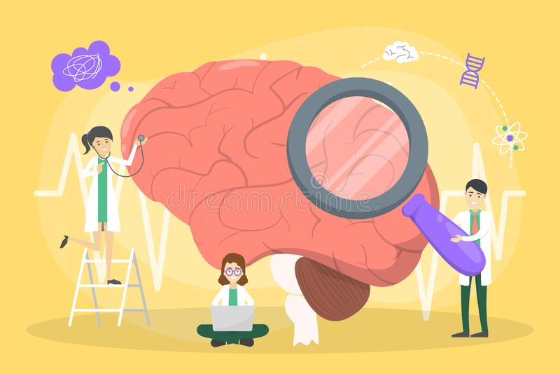 Lekarka egzamininuje ogromnego mózg Pomys? leczenie ilustracja wektor