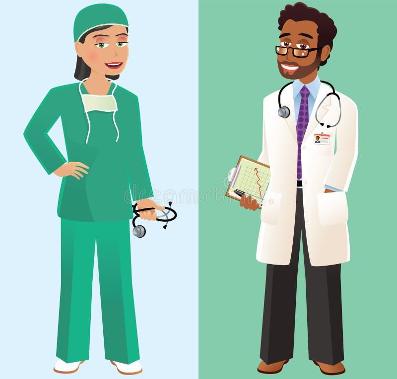 Lekarka i chirurg ilustracja wektor