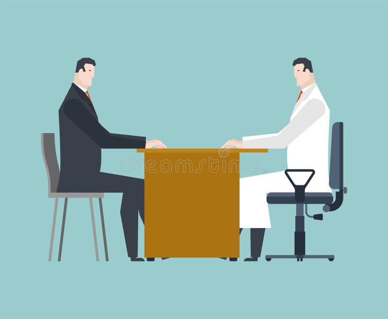 Lekarka i cierpliwa wizyta medycznego mężczyzny wizyta i Chora osoba royalty ilustracja