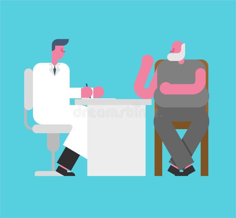 Lekarka i dziad Recepcyjny doc stary człowiek biura medycznego P ilustracji