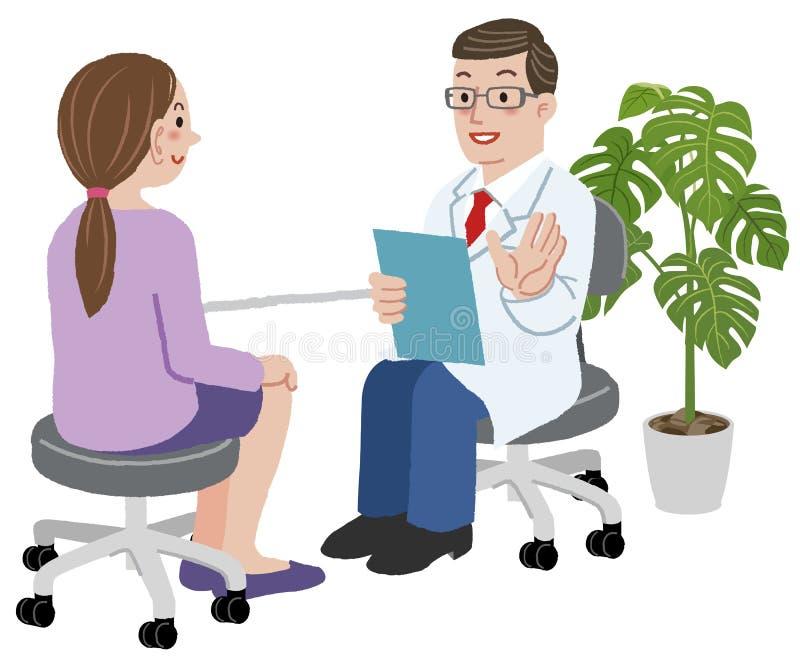 Lekarka i jego żeński pacjent przy jego biurem ilustracji