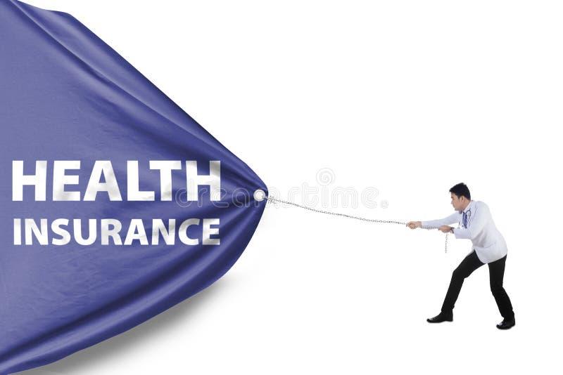Lekarka i ubezpieczenie zdrowotne flaga ilustracja wektor