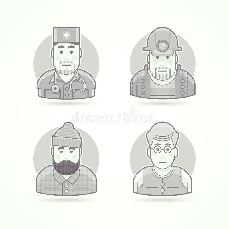 Lekarka, kopalnia pracownik, lumberjack, nauczyciel ikony Avatar i osoby ilustracje ilustracji