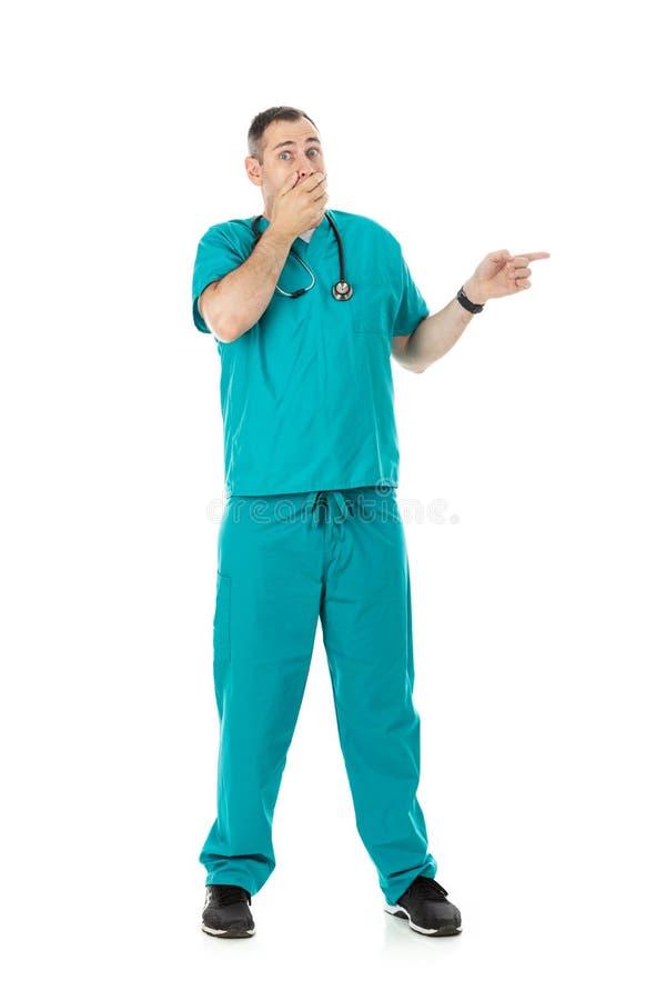 Lekarka: Niepewny i Nieśmiało lekarz Gestykuluje strona zdjęcia royalty free