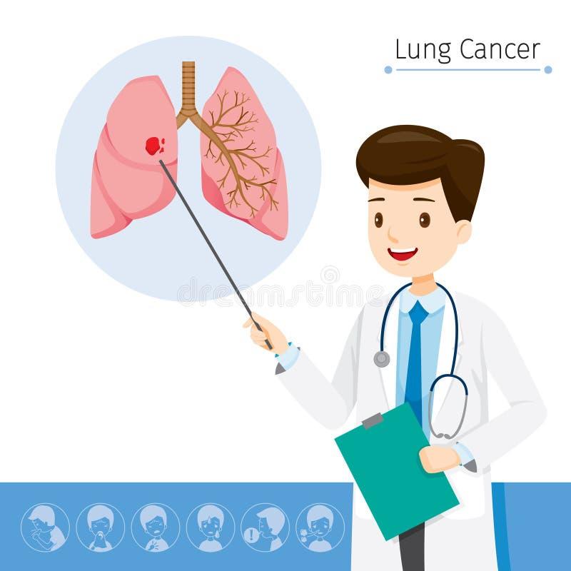 Lekarka Opisuje O przyczynie nowotwór płuc royalty ilustracja