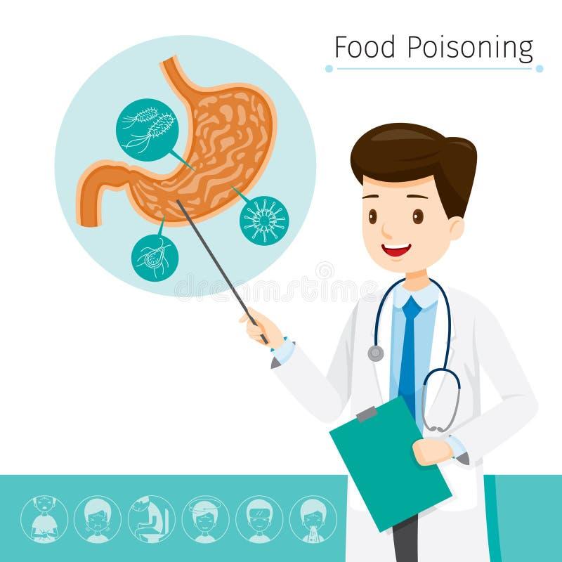 Lekarka Opisuje O przyczynie Stomachache I zatrucie pokarmowe ilustracja wektor