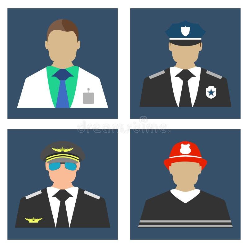 Lekarka, palacz, policjant, Pilotowy portreta logo i ikona, mieszkanie ilustracja wektor