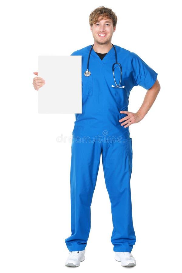 Lekarka/pielęgniarka pokazywać billboardu znaka fotografia royalty free