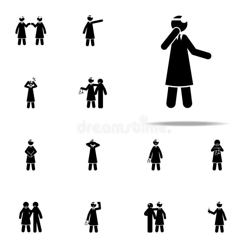lekarka, pomysł ikona Doktorski ikony ogólnoludzki ustawiający dla sieci i wiszącej ozdoby ilustracja wektor