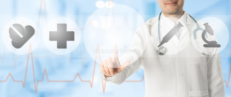 Lekarka punkty przy kopii przestrzenią z Medycznymi ikonami obrazy royalty free