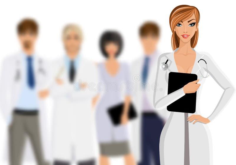 Lekarka z medycznym personelem royalty ilustracja