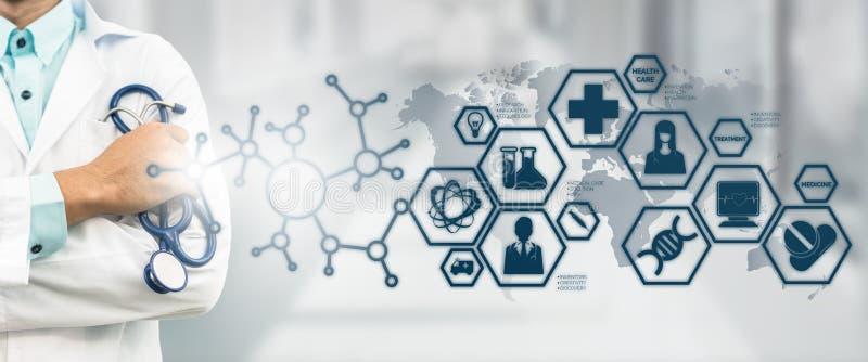 Lekarka z nauki medyczne ikony Nowożytnym interfejsem zdjęcie royalty free