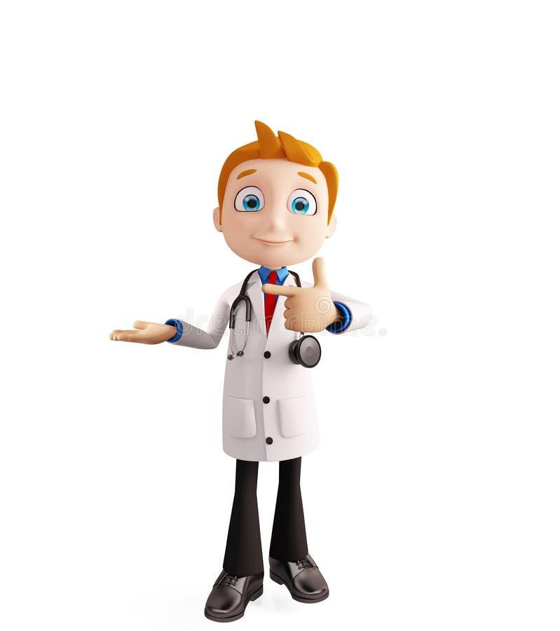 Lekarka z prezentaci pozą ilustracji