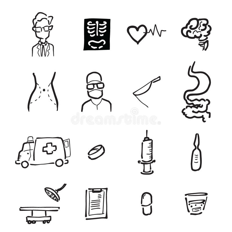 Lekarki i medycyny kreskówki rysunkowe ikony ilustracji