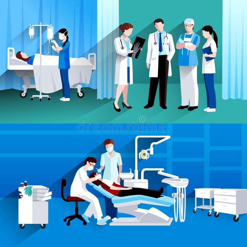 Lekarki i pielęgniarki 2 medyczni sztandary royalty ilustracja